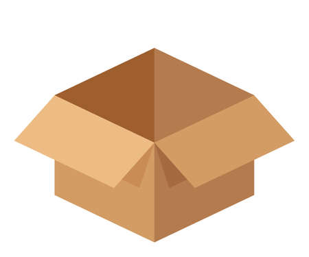 open cardboard box isolated on white, cargo container box brown, carton post box for packaging, packaging brown box for clip art
