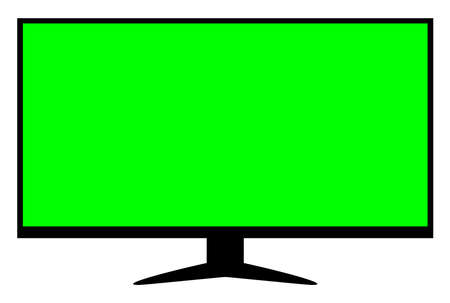 lcd tv green screen for display mock-up, tv lcd wide with green screen isolated on white, blank screen display flat television digital, modern television display for design