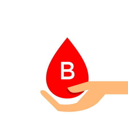 Blood drop B type on hand for icon, clip art red blood drop, Blood B type, Drop blood in hand symbol isolated on white