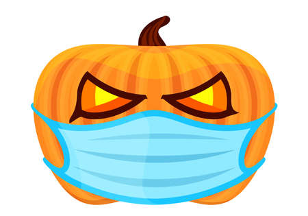 pumpkin with medical mask for the holiday halloween, halloween pumpkin wear a blue mask isolated on white, pumpkin wearing face mask for corona virus protection, new normal halloween concept