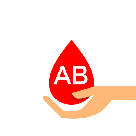 Blood drop AB type on hand for icon, clip art red blood drop, Blood AB type, Drop blood in hand symbol isolated on white