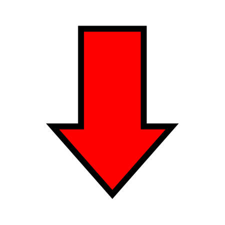 single red arrow, arrow down sign isolated on white, arrow sign for direction