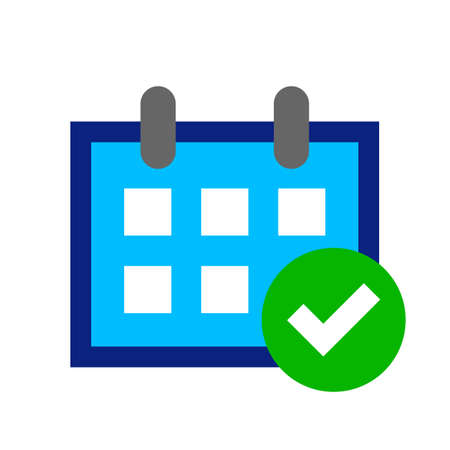 calendar icon, schedule symbol, calendar with agree symbol