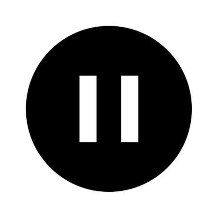 pause icon, pause symbol in circle shape, pause for graphic media Ilustração