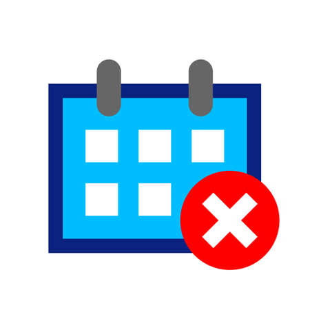 calendar icon, schedule symbol, calendar with cross mark symbol
