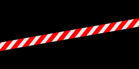 red white caution tape line isolated on black for banner background, tape red white stripe pattern, ribbon tape sign for comfort and construction safety zone, copy space text Ilustração