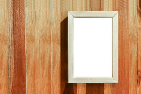 wooden photo frame mock-up on wood vintage wall, framework on wooden wall background Imagens