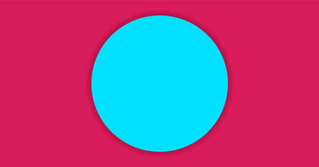 simple circle light blue on magenta pink background for banner, copy space, paper circle light blue color and crimson for background
