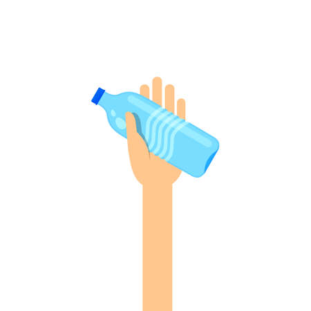 drinking water bottle in hand for giving and donate concept, hand are holding water bottle for clip art