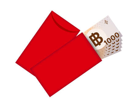 Red packet and money banknote thai baht, Red envelope for New year China, Chinese red envelope
