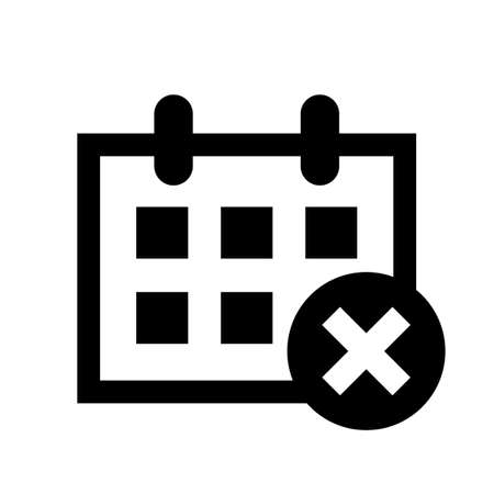 calendar icon, calendar with cross mark symbol.