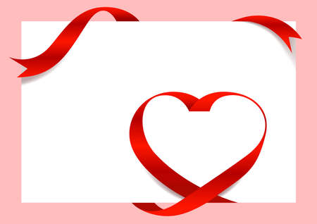 Red Ribbon Heart Shape Mock-Up for A4 size Banner Valentine's Day, Greeting card, Gift Voucher and Certificate Background, copy space
