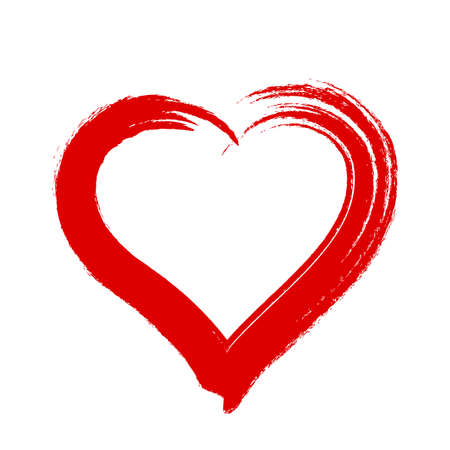 scribble heart shape sketch red color, hand drawn heart symbol isolated on white, heart shape in paint stripe brush stroke