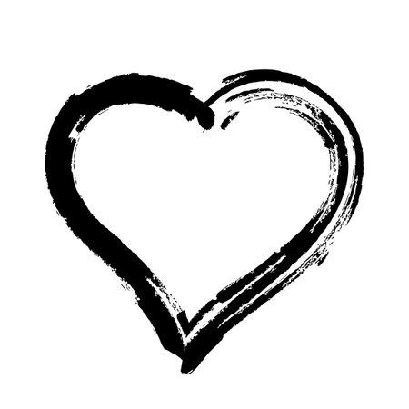 scribble heart shape sketch black color, hand drawn heart symbol isolated on white, heart shape in paint stripe brush stroke Çizim