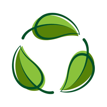Recycle green leaf graphic symbol, Bio sign, Recycle leaf shape for eco icon, Ecological cycle symbol isolated on white Çizim
