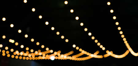 blur decorative lights bokeh colorful for background, decorative string lights outdoor at night time Stok Fotoğraf