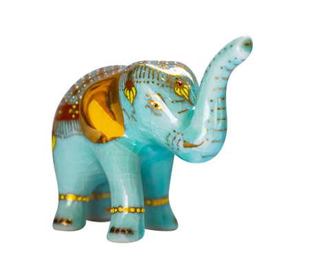 Ceramic Elephant Souvenir from Thailand isolated on white Stok Fotoğraf