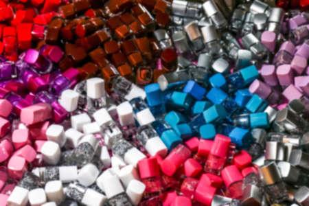 blurred nail polish bottle pile for background Stok Fotoğraf