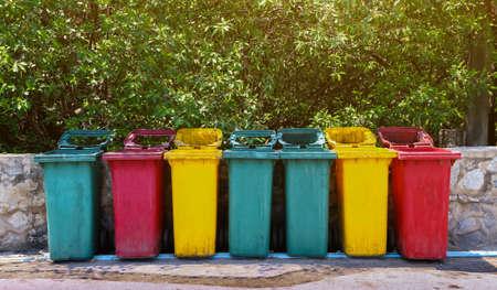 bin, trash bin plastic at the park, dustbin for garbage waste, wheel bin plastic for waste container Stok Fotoğraf