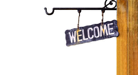 welcome sign retro hanging on wood wall, vintage welcome sign isolated on white