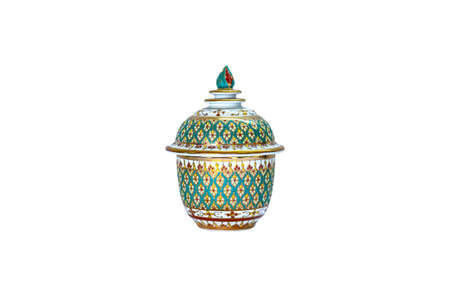 Benjarong Cup Souvenir porcelain from Thailand isolated on white