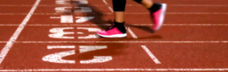 blurred athlete are jogging or walk at the start track stadium, running exercise concept Stok Fotoğraf