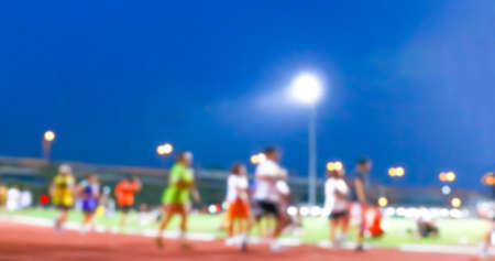 blurred people walking and jogging run for exercise at the outdoor stadium Stok Fotoğraf