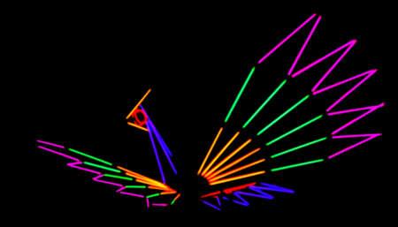 colorful fluorescent light in ferris wheel festival temple fair in night background, blur colors light beam of carnival festival in night
