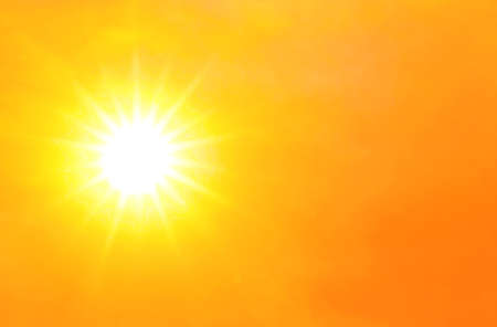 sky orange gold with sunlight shine glow, hot and burning climate concept, yellow gold sky and atmosphere sunshine for background Stok Fotoğraf
