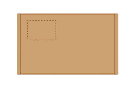 cardboard carton box in top view, brown box or kraft package crate box isolated on white