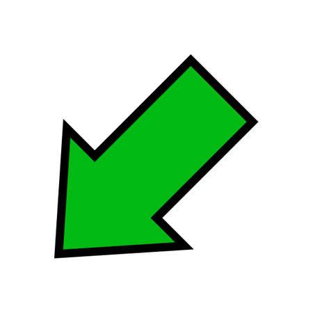 single green arrow, diagonal arrow sign left down isolated on white
