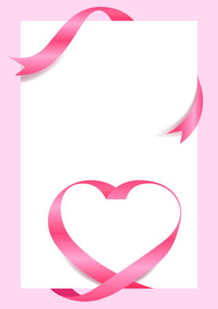 Pink Ribbon Heart Shape Mock-Up for A4 size Banner Valentine's Day, Greeting card, Gift Voucher and Certificate Background, copy space
