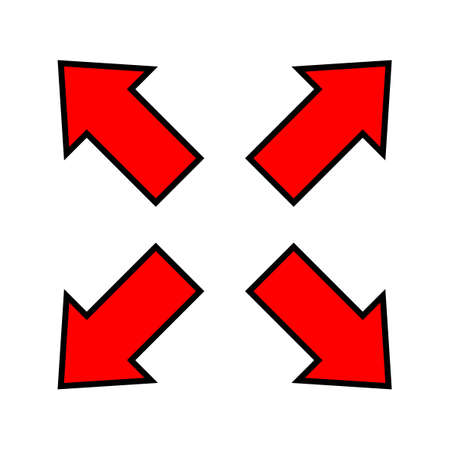 red arrow and diagonal arrow sign for map, arrow button for graphic game, arrow for direction