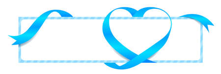 Light Blue Ribbon Heart Shape Mock-Up for Banner Valentine's Day, Greeting card, Gift Voucher and Certificate Background, copy space Çizim