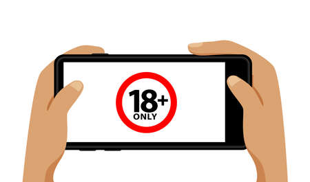 18+ on smartphone blank screen in hand isolated on white, adults age only concept, over 18 plus only censored on mobile phone white screen, eighteen age older forbidden for adult content