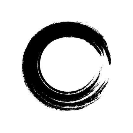 black circle brush enso symbol, smear circle shape with scribble hand drawn, ink dirty stain black on white, paint stripe brush strokes circle symbol