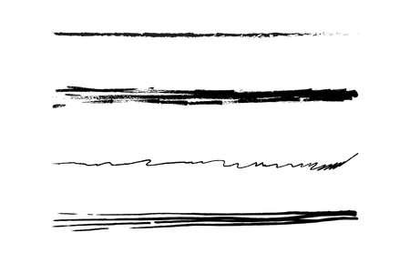 scribble horizontal brushes doodle art line sketch in black color, strokes of marker brushes set, scribble ink hand-drawn line horizontal, brushes ink stripes horizontal shape