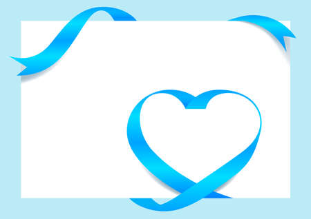 Ribbon Heart Shape Light blue Mock-Up for A4 size Banner Background, Greeting card, Gift Voucher and Certificate Background, copy space Çizim