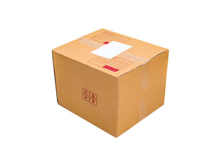 parcel crate box post for delivery shipping, cardboard paper carton box brown for packaging delivery, crate cargo paper box isolated on white