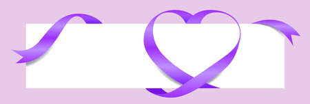 Purple Ribbon Heart Shape for Banner Mock-Up, Greeting card, Gift Voucher and Certificate Template, Banner Valentine's Day Background, copy space