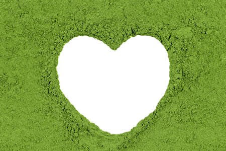 herbal powder green with heart shape white for copy space banner herb background