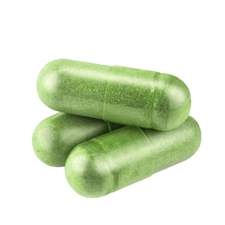 andrographolide herb capsule, andrographis herbal capsule green powder isolated on white, paniculata pill capsule herb