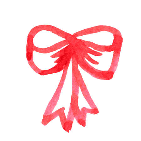 red bow, watercolor bow for media children kids clip art concept, illustration ribbon bow watercolor hand drawn