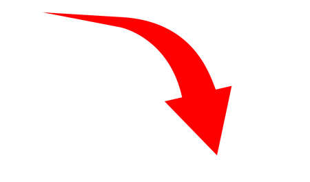 arrow pointing down for business graph symbol, simple red arrow, pointer down arrow graphic
