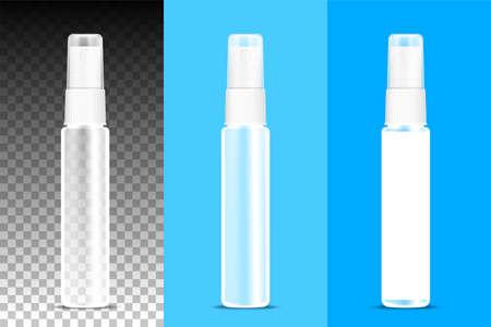 perfume bottle clear spray on transparent background, packaging bottle spray, transparent bottle spraying mockup, 3d illustration 矢量图像