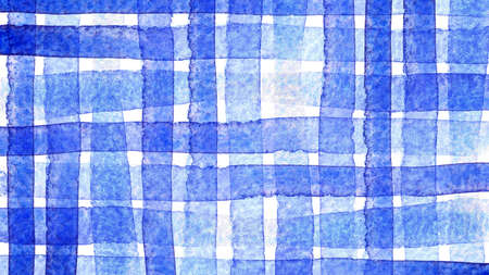 watercolor checkered blue pattern for background, watercolor painted stripe blue color on white background 免版税图像