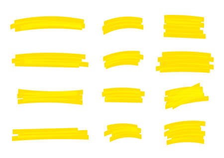 highlight stripes yellow color, banners drawn with markers, yellow highlight stripe marker stroke, hand drawn highlight elements for design, marker stroke bright color 矢量图像