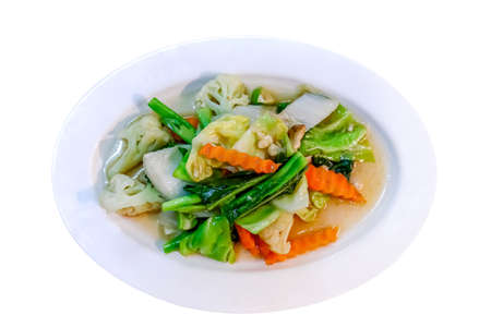 vegetable fried, vegetable stir-fry menu in a white plate 免版税图像
