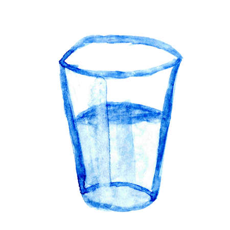 drinking glass watercolor hand draw for kids art, illustration drinking glass for clip art media, children hand draw concept