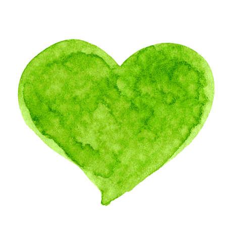 heart green watercolor hand draw for kids art, illustration heart shape clip art media, children hand draw concept 免版税图像